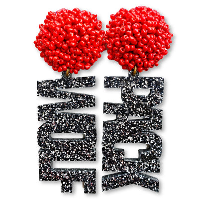 "NC State Black and Silver Glitter ""Wolf Pack"" with Red Beads"