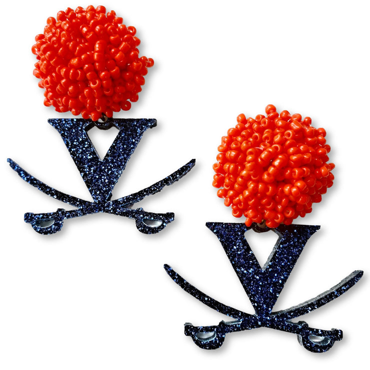 University of Virginia Navy Glitter Logo with Orange Beads