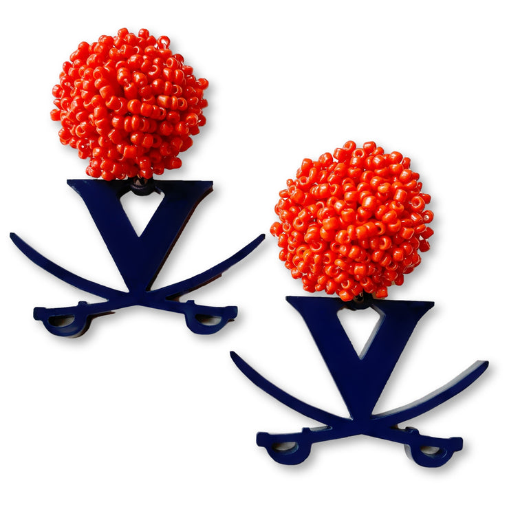 University of Virginia Navy Logo with Orange Beads