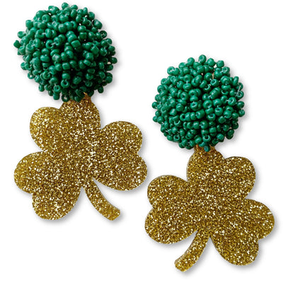 St. Patty's Party - Gold Glitter Shamrock Earrings with Green Beads