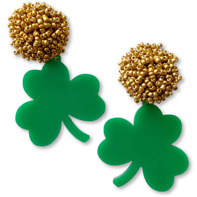 St. Patty's Party - Green Shamrock Earrings with Gold Beads