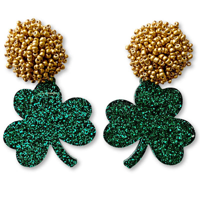 St. Patty's Party - Green Glitter Shamrock Earrings with Gold Beads