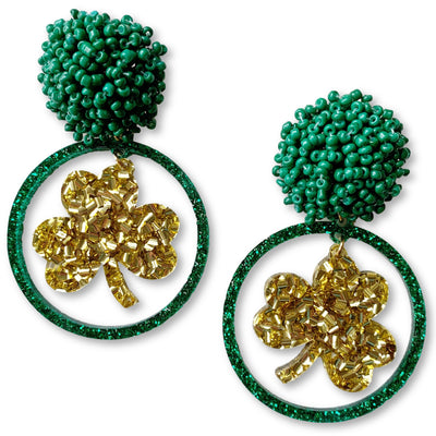 St. Patty's Party - Gold and Green Glitter Shamrock Hoop Earrings with Green Beads