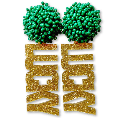 "St. Patty's Party - Gold Glitter ""Lucky"" Earrings with Green Beads"