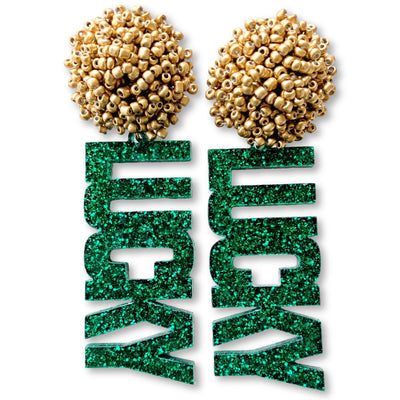 "St. Patty's Party - Green Glitter ""Lucky"" Earrings with Gold Beads"