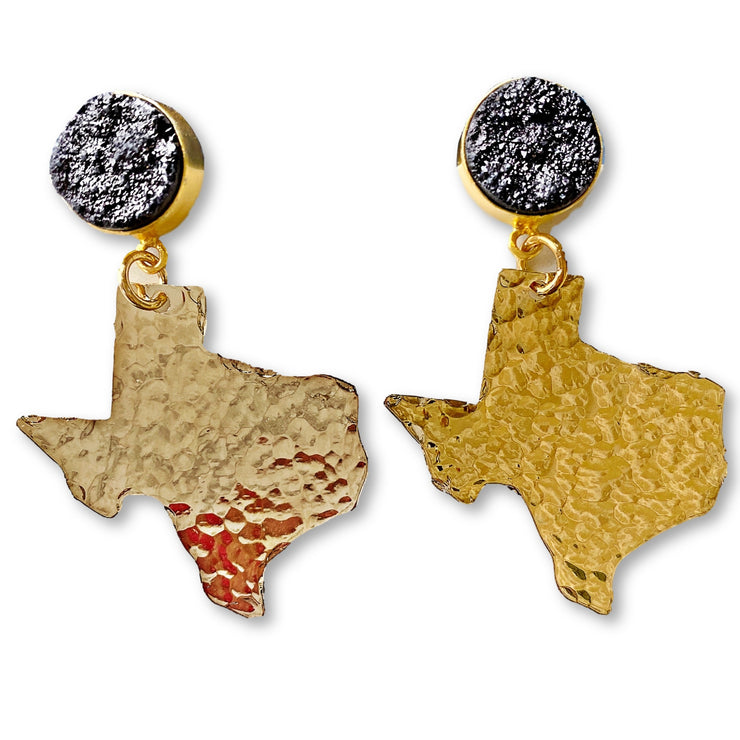 Texas Proud Gold Small Shape of Texas Earrings with Black Druzy