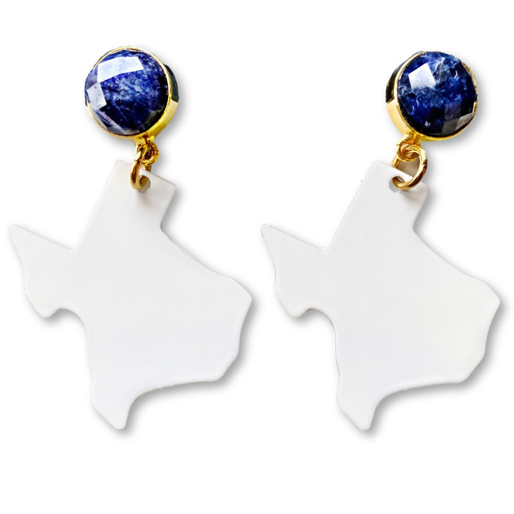 Texas Proud Metal Small White Shape of Texas with Sodalite