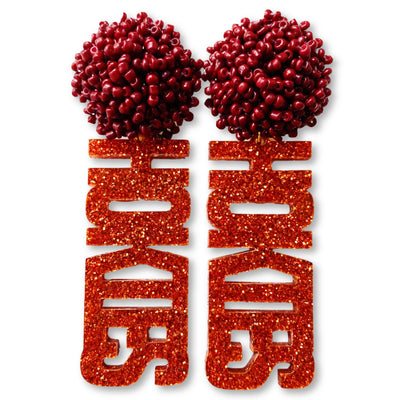 "Virginia Tech Orange Glitter ""Hokies"" with Maroon Beads"
