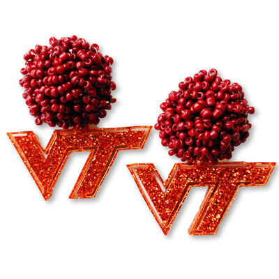 Virginia Tech Orange Glitter Logo with Maroon Beads