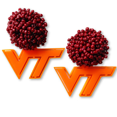 Virginia Tech Orange Logo with Maroon Beads