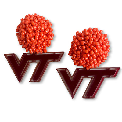 Virginia Tech Maroon Logo with Orange Beads