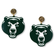Baylor Green Bear Earrings with Gold Druzy