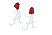 Alabama White A Earrings with Red Geode
