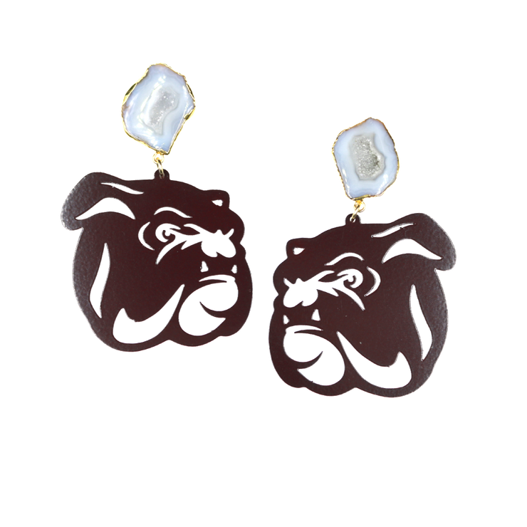 Mississippi State Maroon Bulldog Earrings with White Geode