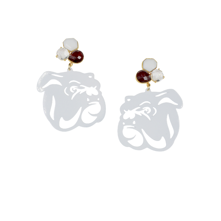 Mississippi State White Bulldog Earrings with 3 Gemstones