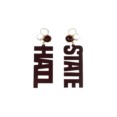Mississippi State Maroon HAIL STATE Earrings with 3 Gemstones