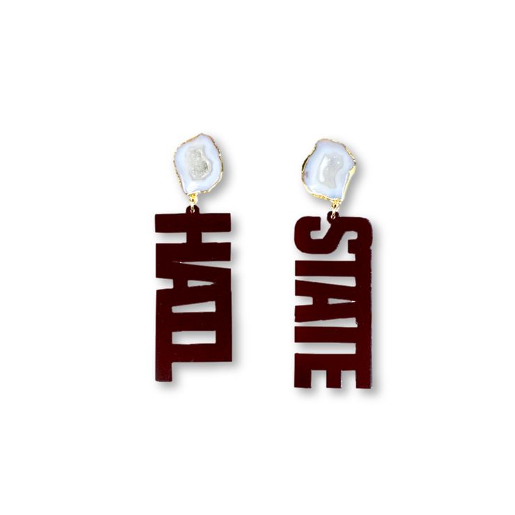 Mississippi State Maroon HAIL STATE Earrings with White Geode