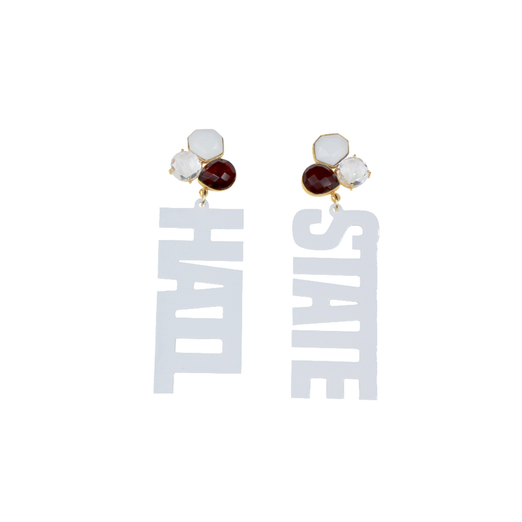 Mississippi State White HAIL STATE Earrings with 3 Gemstones