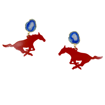 SMU Red Mustang Earrings with Blue Geode