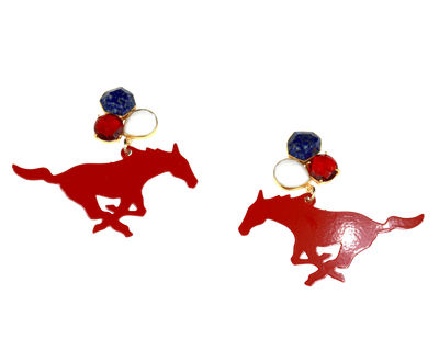 SMU Red Mustang Earrings with 3 Gemstones