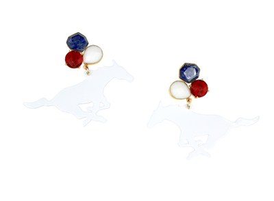 SMU White Mustang Earrings with 3 Gemstones