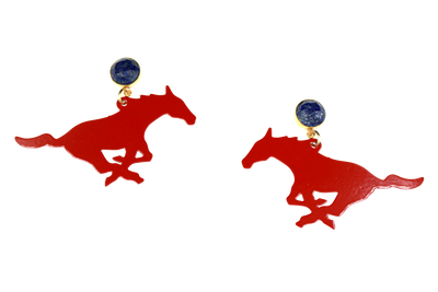 SMU Red Mustang Earrings with Lapis Lazuli