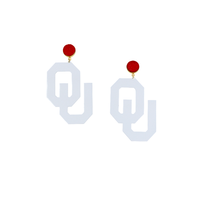 OU White Logo Earrings with Red Druzy