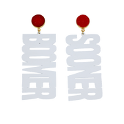 "OU White ""BOOMER SOONER"" Earrings with Red Druzy"