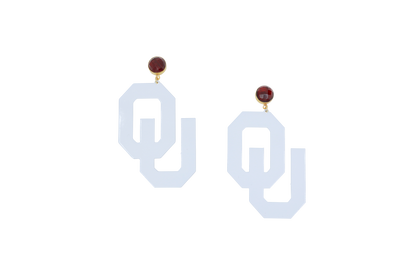 OU White Logo Earrings with Garnet