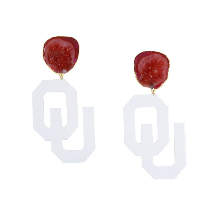 OU White Logo Earrings with Red Geode