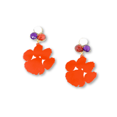 Clemson Orange Paw Earrings with 3 Gemstones
