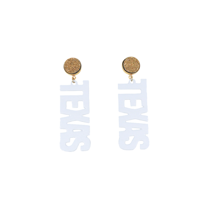 "Texas Proud White ""Texas"" Earrings with Gold Druzy"