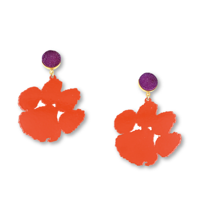 Clemson Orange Paw Earrings with Purple Druzy