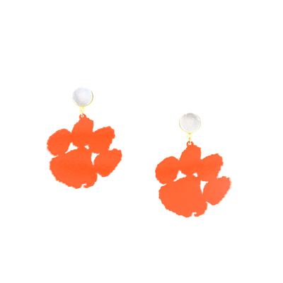 Clemson Orange Paw Earrings with White Druzy