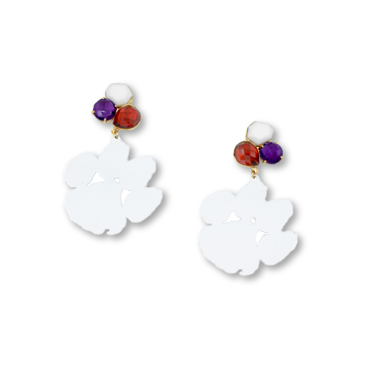 Clemson White Paw Earrings with 3 Gemstones