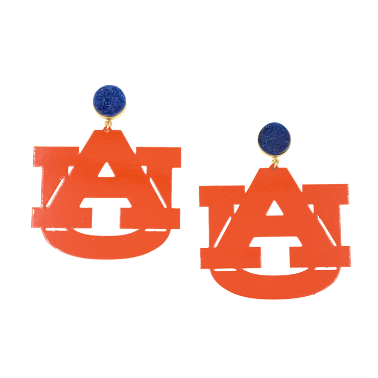 Auburn Orange AU Earrings with Navy Blue Druzy