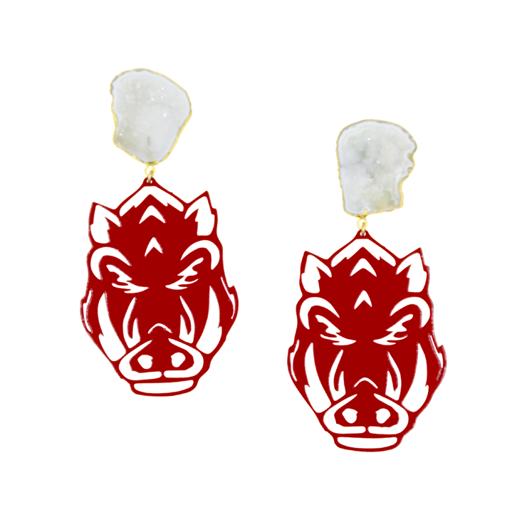 Arkansas Cardinal Red Razorback Face Earrings with White Geode
