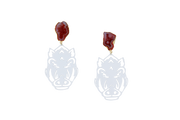 Arkansas Razorback Earrings in White with Red Geode