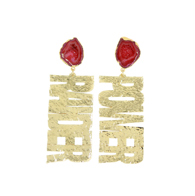 "Texas Tech Gold ""RAIDER POWER"" Earrings with Red Geode"