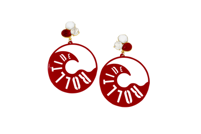 Alabama Crimson Tide Hoop Earrings with 3 Gemstones