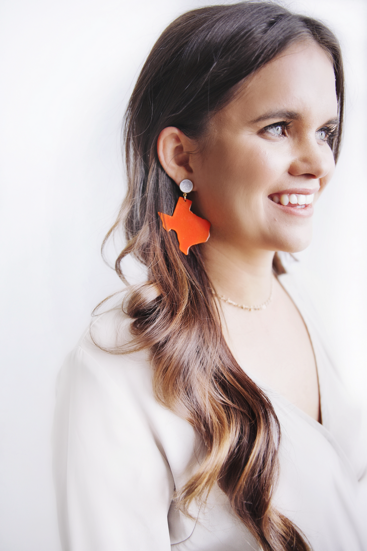 Texas Proud Orange Shape of Texas Earrings with White Druzy