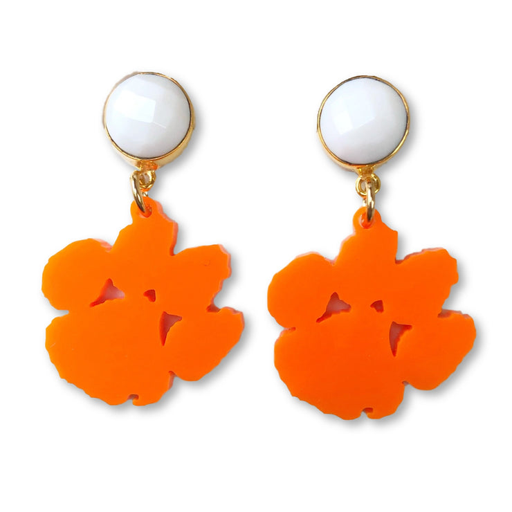 Mini Clemson Orange Acrylic Paw with White Agate Gemstone