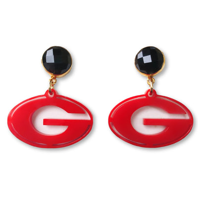 Mini Georgia Red Acrylic Power G Earrings with Black Onyx Gemstones