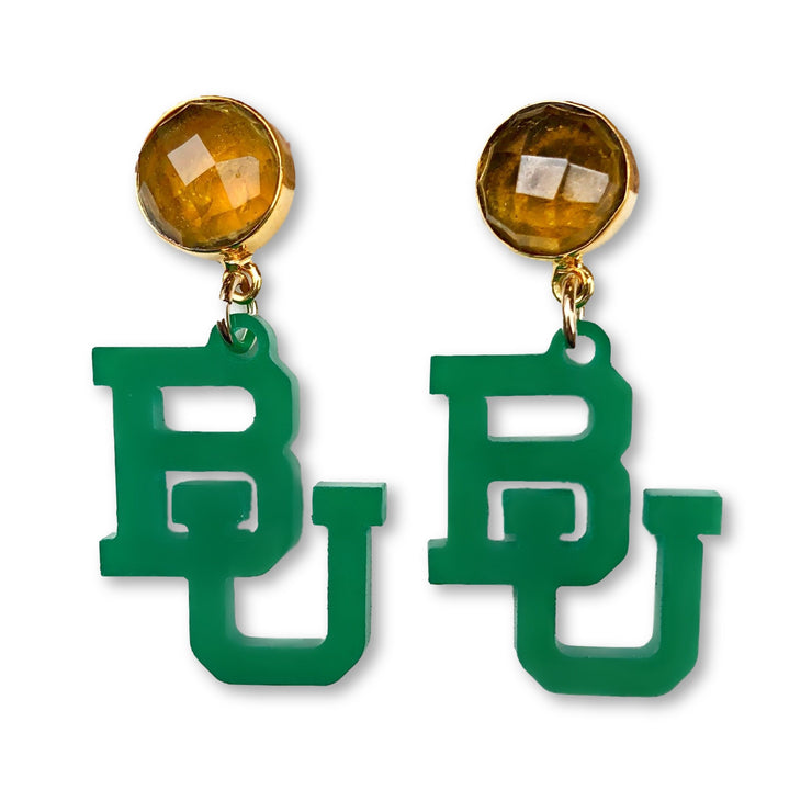 Mini Baylor Green Acrylic BU with Citrine Gemstones