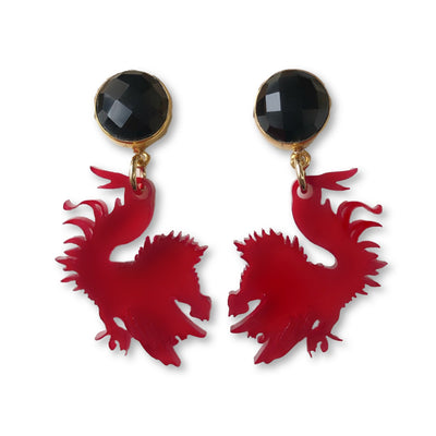 Mini South Carolina Garnet Acrylic Gamecock Earrings with Black Onyx