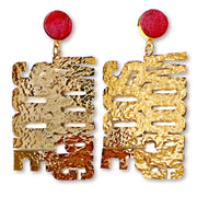 Arkansas WOOO PIG SOOIE Earrings in Gold with Red Druzy