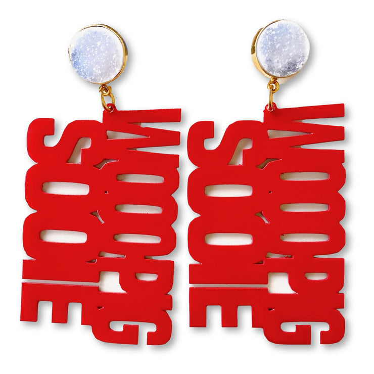 Arkansas WOOO PIG SOOIE Earrings in Cardinal with White Druzy