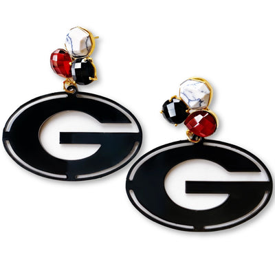 Georgia Black Power G Earrings with 3 Gemstones