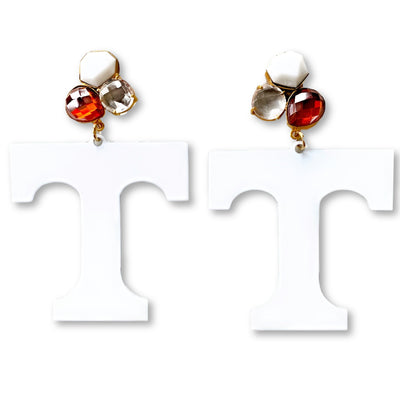 Tennessee White T Logo Earrings with 3 Gemstones