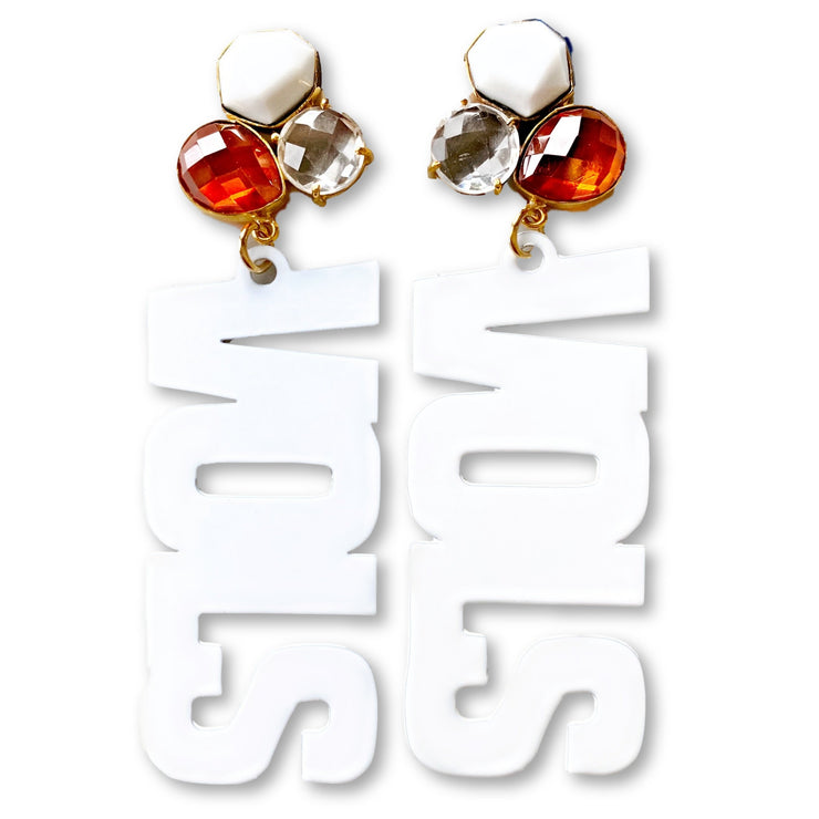 "Tennessee White ""VOLS"" Earrings with 3 Gemstones"